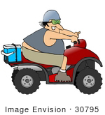 #30795 Clip Art Graphic Of A Happy Caucasian Man Smiling While Speeding Past On A Red Quad