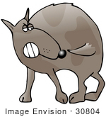 #30804 Clip Art Graphic Of A Frustrated Dog Trying To Catch His Own Tail While Running In Circles