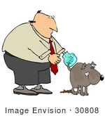 #30808 Clip Art Graphic Of A Balding Caucasian Businessman Waiting For His Dog To Finish Doing His Business So He Can Clean Up The Mess With A Bag