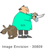 #30809 Clip Art Graphic Of A Male Caucasian Veterinarian Cleaning A Knife In Preparation Of Neutering The Scared Dog At His Feet