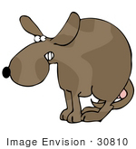 #30810 Clip Art Graphic Of A Scared Dog Cowering With His Legs Tucked Between His Hind Legs Guarding His Balls