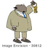 #30812 Clip Art Graphic Of An African American Businessman In A Tan Suit And Blue Tie Holding Up A Set Of Keys Symbolizing Opportunities And Advancement