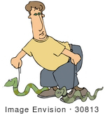 #30813 Clip Art Graphic Of A Caucasian Man In A Yellow Shirt And Blue Pants Crouching Down While Walking Two Snakes On Leashes