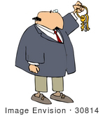 #30814 Clip Art Graphic Of A Caucasian Businessman In A Tan Suit And Blue Tie Holding Up A Set Of Keys Symbolizing Opportunities And Advancement