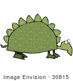 #30815 Clip Art Graphic Of A Slow Old Green Dinosaur Turtle With Spikes On His Shell