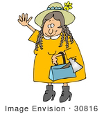 #30816 Clip Art Graphic Of A Woman Lizzie Borden Appearing To Be Friendly While Carrying A Hatchet In Her Purse