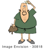 #30818 Clip Art Graphic Of A Bald Caucasian Man In A Green Robe And Slippers Applying Hairpiece Glue Before Putting His Toupee On His Head