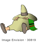 #30819 Clip Art Graphic Of A Mexican Man Wearing Sandals Taking An Afternoon Siesta Under His Sombrero