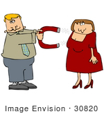 #30820 Clip Art Graphic Of A Blond Caucasian Man Holding Out A Chick Magnet That Is Luring In An Attractive Woman In A Red Dress