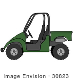 #30823 Clip Art Graphic Of A Forest Green Utv Over A White Background