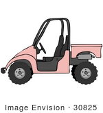 #30825 Clip Art Graphic Of A Pale Pink Utv Over A White Background