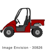 #30826 Clip Art Graphic Of A Deep Red Utv Over A White Background