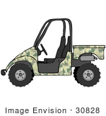 #30828 Clip Art Graphic Of A Green Military Camo Utv Over A White Background