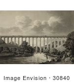 #30840 Stock Illustration Of The Pontcysyllte Aqueduct Between Trevor And Froncysyllte Wrexham Spanning The River Dee In North East Wales Britain