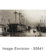 #30841 Stock Illustration Of Ships With Tall Masts In A Harbour