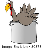 #30878 Clip Art Graphic Of A Thankstiving Turkey Bird Chilling Out In A Pot
