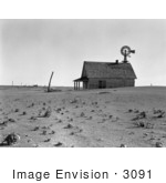 #3091 Stock Photography Of An Occupied Dust Bowl Farm House With A Windmill In Dalhart Texas