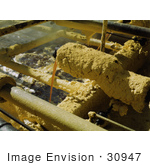 #30947 Stock Photo Of Sulphur Covered Faucet Pouring Melted Sulphur From The Wells Into The Relay Station At The Freeport Sulphur Company In Hoskins Mound Texas