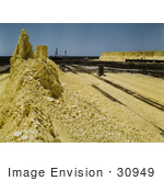 #30949 Stock Photo Of A Nearly Exhausted Sulphur Vat Along Loading Railroad Tracks At The Freeport Sulphur Company In Hoskins Mound Texas