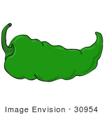 #30954 Clip Art Graphic Of A Spicy Hot Green Chilie Pepper With A Green Stem