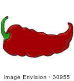 #30955 Clip Art Graphic Of A Spicy Hot Red Chilie Pepper With A Green Stem
