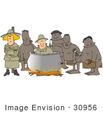 #30956 Clip Art Graphic Of American Tourists Being Prepared By Cannibals