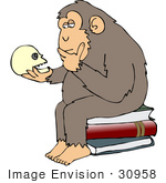 #30958 Clip Art Graphic Of A Cartoon Parody Of Rheinhold'S &Quot;Philosophizing Monkey&Quot; Showing A Chimp Holding A Skull And Sitting On Books