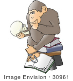 #30961 Clip Art Graphic Of A Cartoon Parody Of Rheinhold'S &Quot;Philosophizing Monkey&Quot; Showing A Smart Chimpanzee Seated On A Stack Of Books And Gazing At A Human Skull