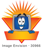 #30966 Clip Art Graphic Of A Desktop Computer Cartoon Character Label With An Orange Sunburst