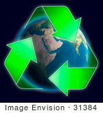 #31384 Conceptual Recycling Symbol Over Earth Globe