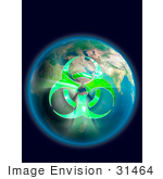 #31464 Conceptual Biohazard Symbol over Earth Globe by Oleksiy Maksymenko