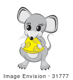 #31777 Clipart Illustration Of An Adorable Little Gray Mouse Eating Yellow Cheese With Holes In It