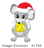 #31793 Clipart Illustration Of A Cute Little Gray Mouse Wearing A Red And White Santa Hat And Holding And Nibbling On A Wedge Of Yellow Swiss Cheese