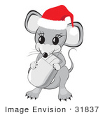 #31837 Clipart Illustration Of A Cute Little Gray Mouse Wearing A Red And White Santa Hat And Holding A Computer Mouse