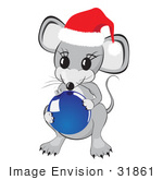 #31861 Clipart Illustration Of A Cute Little Gray Mouse Wearing A Red And White Santa Hat And Holding A Shiny Blue Glass Christmas Tree Ornament Bauble