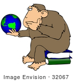 #32067 Clip Art Graphic Of A Cartoon Parody Of Rheinhold'S &Quot;Philosophizing Monkey&Quot; Showing A Chimp Holding The Earth And Sitting On Books