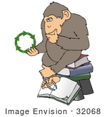 #32068 Clip Art Graphic Of A Cartoon Parody Of Rheinhold'S &Quot;Philosophizing Monkey&Quot; Showing A Chimpanzee Holding Recycling Arrows And Sitting On Books