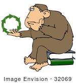 #32069 Clip Art Graphic Of A Cartoon Parody Of Rheinhold'S &Quot;Philosophizing Monkey&Quot; Showing A Monkey Holding Green Recycling Arrows And Sitting On Books