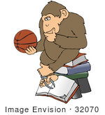 #32070 Clip Art Graphic Of A Cartoon Parody Of Rheinhold'S &Quot;Philosophizing Monkey&Quot; Showing A Chimp Holding A Basketball And Sitting On Books