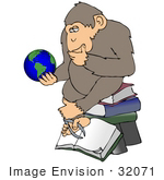 #32071 Clip Art Graphic Of A Cartoon Parody Of Rheinhold'S &Quot;Philosophizing Monkey&Quot; Showing A Chimpanzee Holding A Globe And Sitting On Books