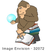 #32072 Clip Art Graphic Of A Cartoon Parody Of Rheinhold'S &Quot;Philosophizing Monkey&Quot; Showing A Monkey Holding A Gypsy Crystal Ball And Sitting On Books