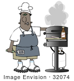 #32074 Clip Art Graphic Of An African American Man Smiling While Cooking On A Gas Grill
