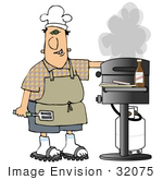 #32075 Clip Art Graphic Of A Caucasian Man Grinning While Cooking On A Gas Grill