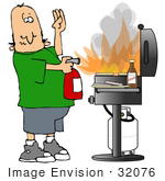 #32076 Clip Art Graphic Of A Fire Safe Caucasian Man Using An Extinguiser To Put Out A Fire On A Gas Grill