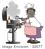 #32077 Clip Art Graphic Of An African American Woman Cooking Hamburgers On A Gas Grill While Wearing An Apron And Chefs Hat