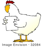 #32084 Clip Art Graphic Of A Confused White Rooster Holding Up A Blank White Sign