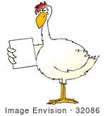 #32086 Clip Art Graphic of a Skinny White Chicken Holding A Blank Sign In Its Wing by DJArt