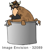 #32089 Clip Art Graphic of a Weird Brown Cow In A Stock Pot, Wearing Glasses And A Hairy Nose by DJArt