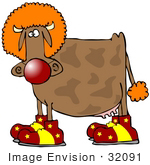 #32091 Clip Art Graphic Of A Clowning Brown Cow Wearing An Orange Wig Big Red Nose And Goofy Shoes