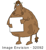 #32092 Clip Art Graphic of a Sad Brown Cow Standing On Its Hind Legsand Holding A Sign by DJArt